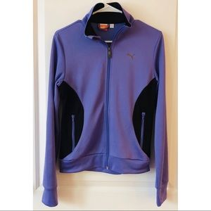 PUMA Womens Purple Full Zip Athletic Track Jacket